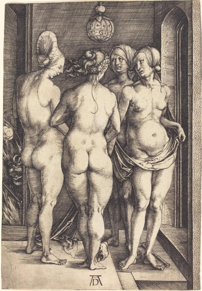 Albrecht Dürer Four Naked Women, Canvas, Albrecht Dürer, kanvas tablo, canvas print sales