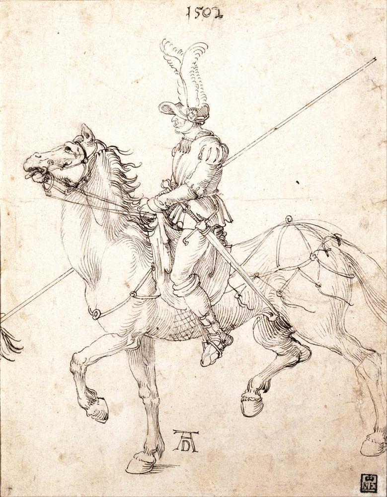 Albrecht Dürer Lancer At Sırtında, Kanvas Tablo, Albrecht Dürer