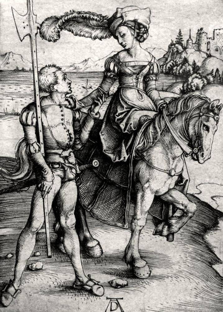 Albrecht Dürer At Sırtında Bir Bayan, Kanvas Tablo, Albrecht Dürer