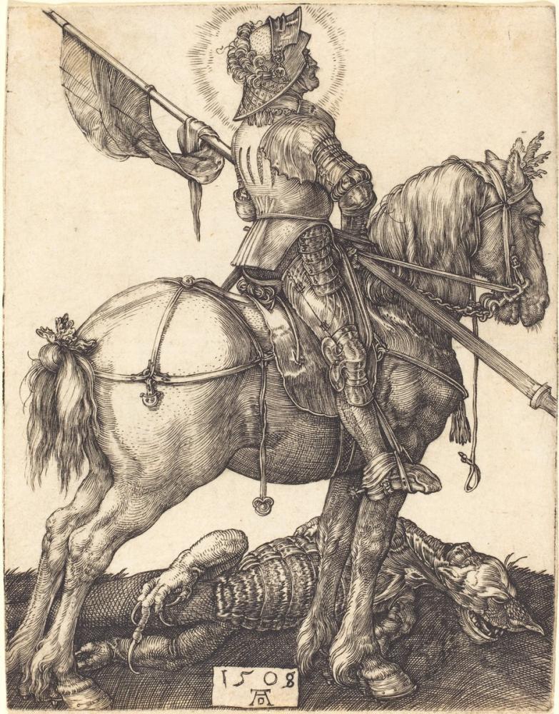 Albrecht Dürer At Sırtında Saint George, Kanvas Tablo, Albrecht Dürer, kanvas tablo, canvas print sales