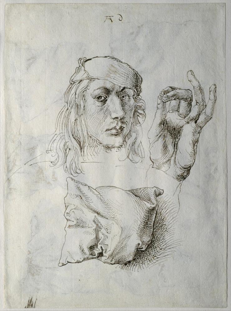 Albrecht Dürer Otoportrem Bir El Çalışması Ve Bir Yastık, Kanvas Tablo, Albrecht Dürer