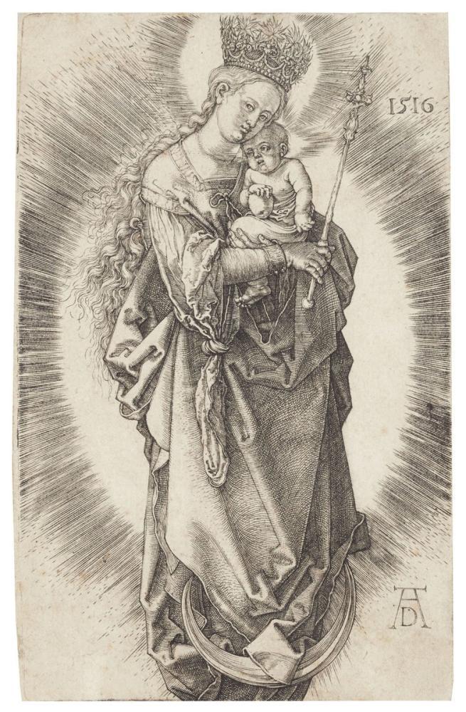 Albrecht Dürer Hilal Üzerinde Bir Yıldız Tacı Ve Bir Asa İle Bakire, Kanvas Tablo, Albrecht Dürer, kanvas tablo, canvas print sales