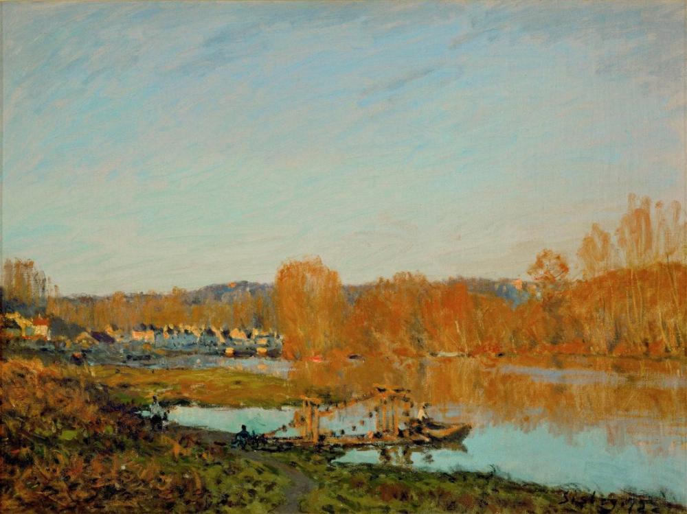 Alfred Sisley Bougival Yakınında Seine Sonbahar Banklar, Kanvas Tablo, Alfred Sisley