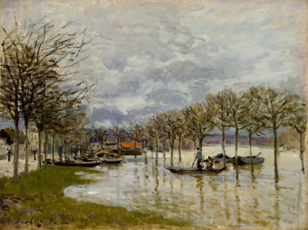 Alfred Sisley Saint Germain Yolunda Sel, Kanvas Tablo, Alfred Sisley