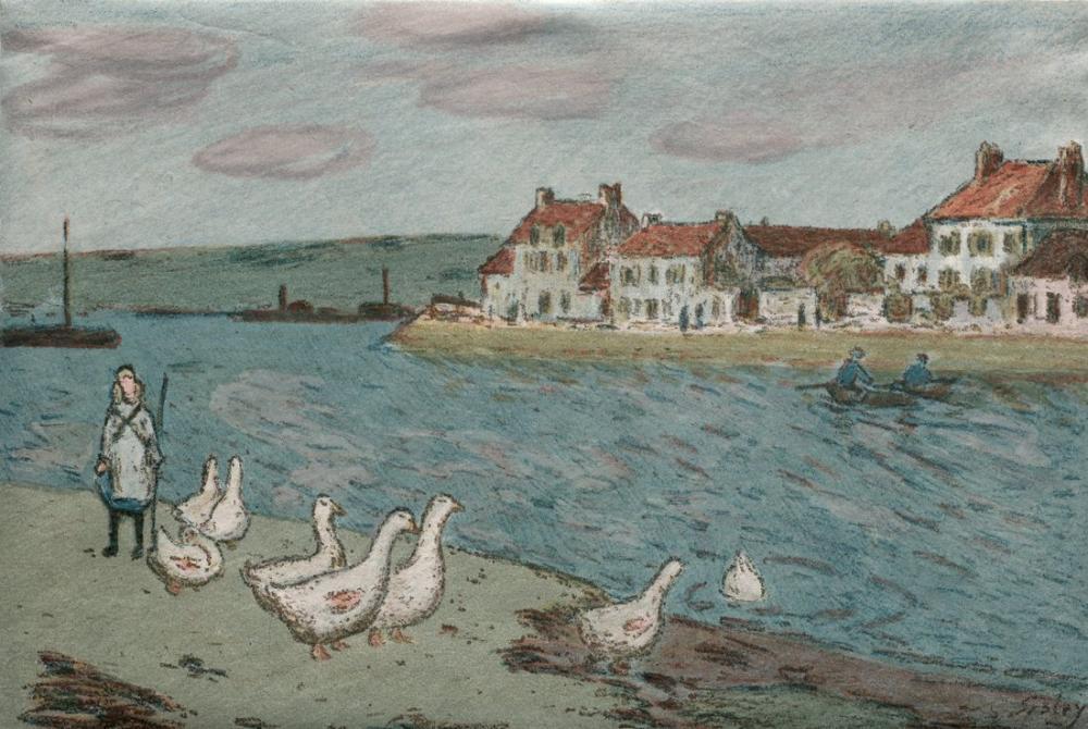 Alfred Sisley Nehir Bankı Ve Kazlar, Kanvas Tablo, Alfred Sisley