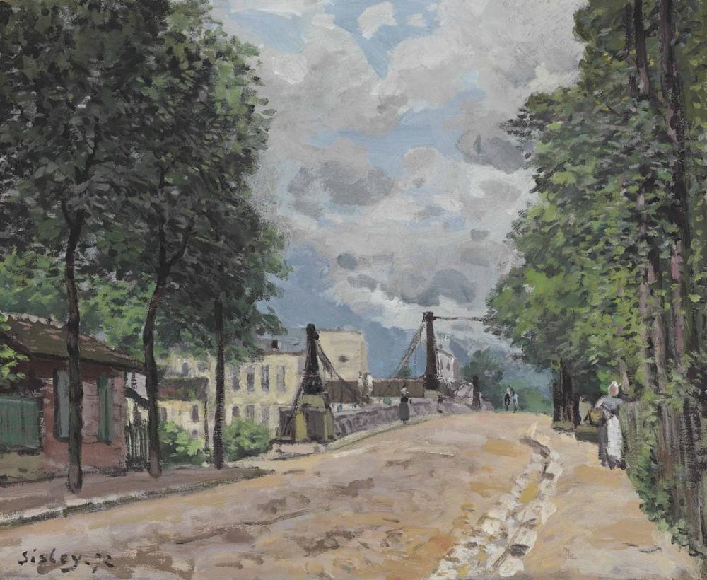 Alfred Sisley Gennevilliers Yolu, Kanvas Tablo, Alfred Sisley
