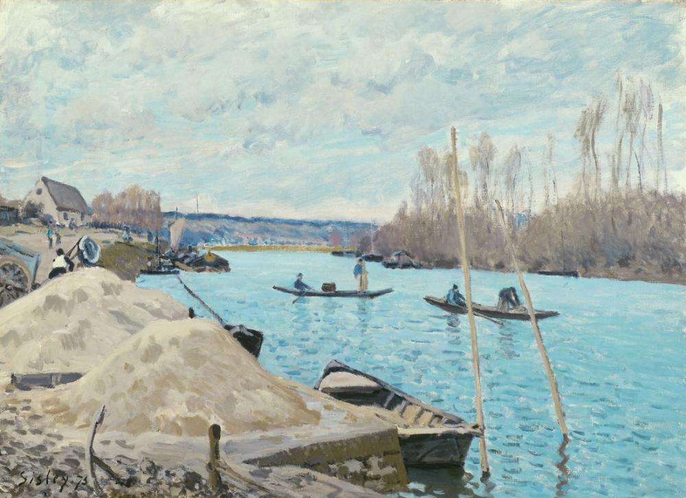 Alfred Sisley Port Marly Kum Kazıkları Seine, Kanvas Tablo, Alfred Sisley