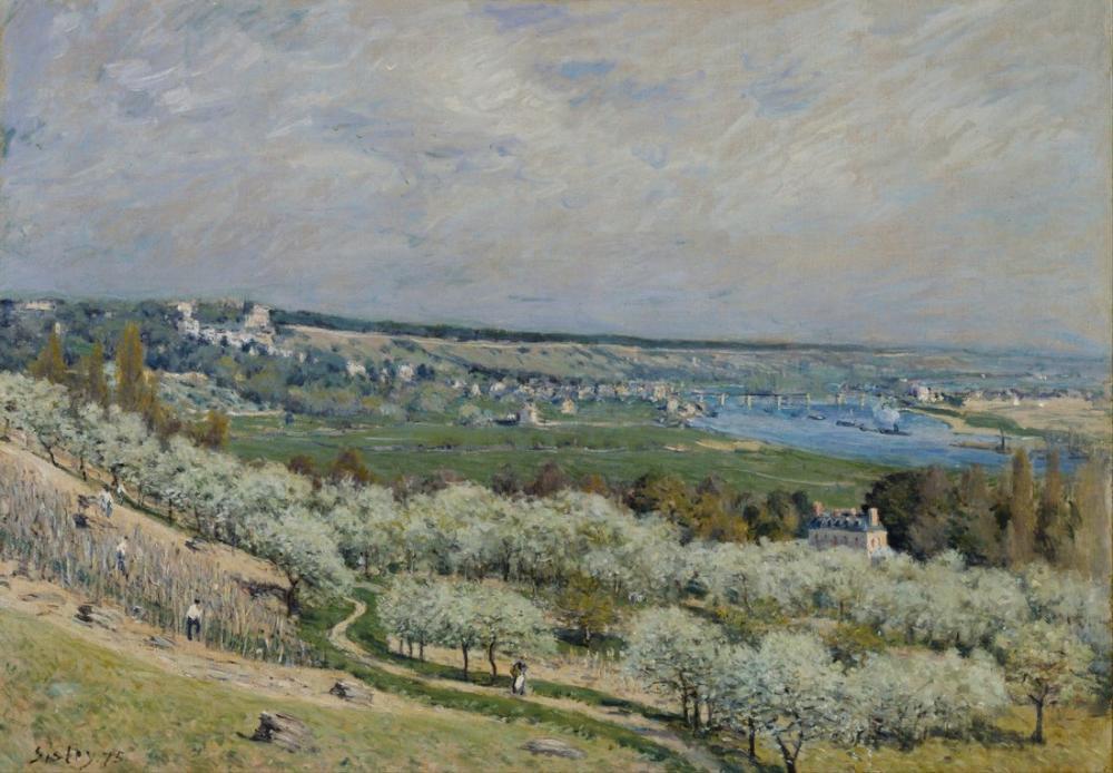 Alfred Sisley Teras Saint Germain Spring, Kanvas Tablo, Alfred Sisley