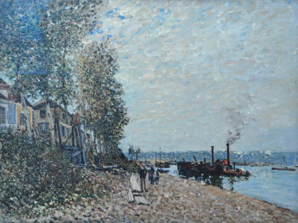 Alfred Sisley Loing Üzerinde Römorkör, Kanvas Tablo, Alfred Sisley, kanvas tablo, canvas print sales