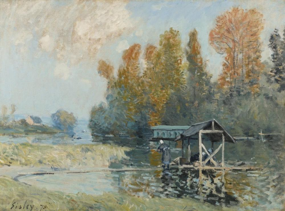 Alfred Sisley The Washer Women In Bougival, Canvas, Alfred Sisley, kanvas tablo, canvas print sales