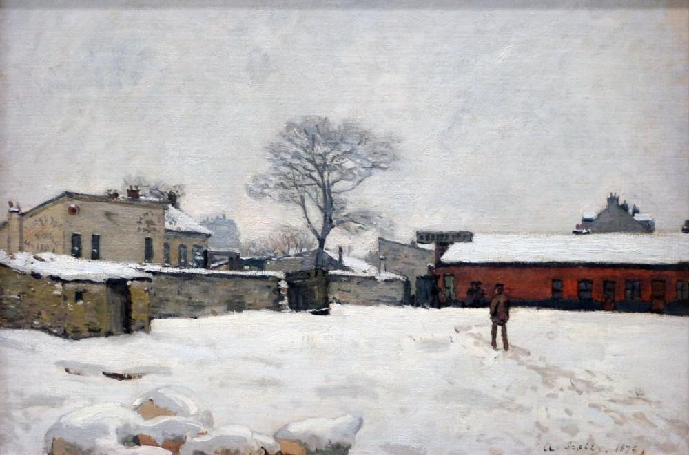 Alfred Sisley Under The Snow Farm Court, Canvas, Alfred Sisley, kanvas tablo, canvas print sales