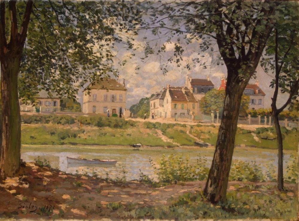 Alfred Sisley Seine'deki Köy, Kanvas Tablo, Alfred Sisley