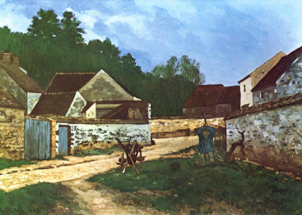 Alfred Sisley Village street in Marlotte, Canvas, Alfred Sisley, kanvas tablo, canvas print sales