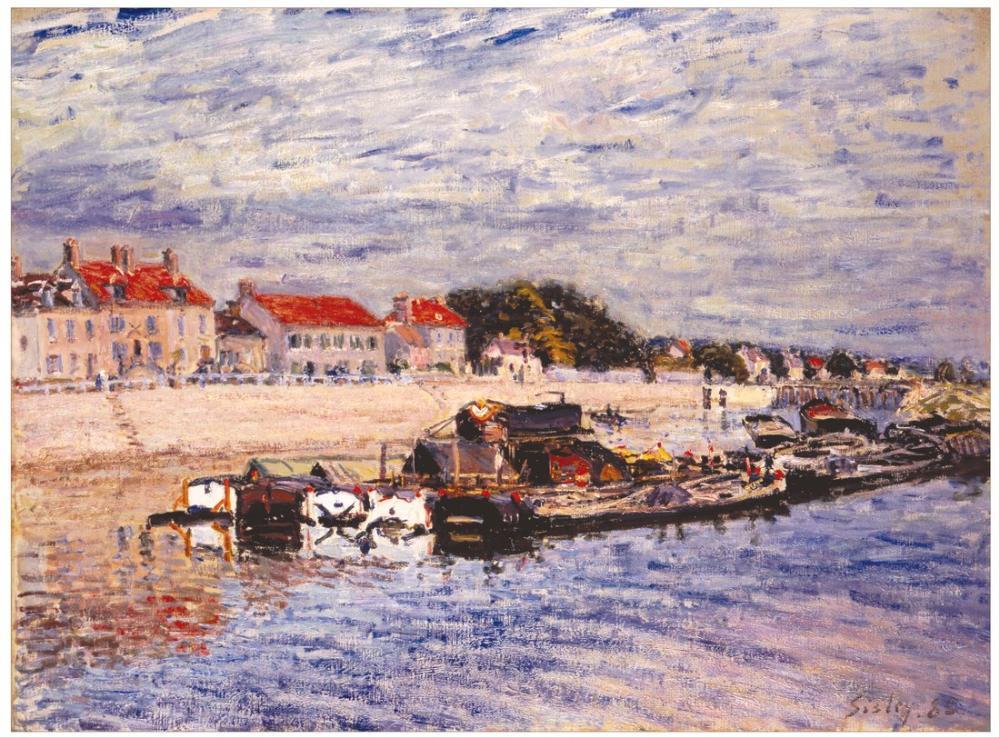 Alfred Sisley Loing Üzerinde Mavnalar Saint Mammes, Kanvas Tablo, Alfred Sisley, kanvas tablo, canvas print sales