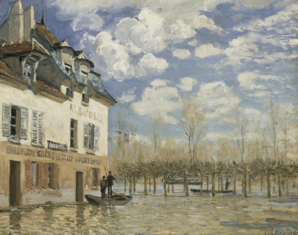 Alfred Sisley Selde Tekne Port Marly, Kanvas Tablo, Alfred Sisley