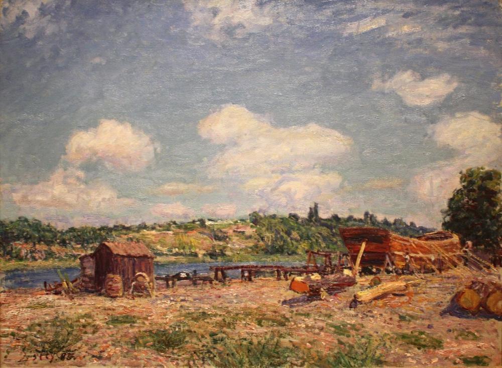 Alfred Sisley Tersane Saint Mammes, Kanvas Tablo, Alfred Sisley