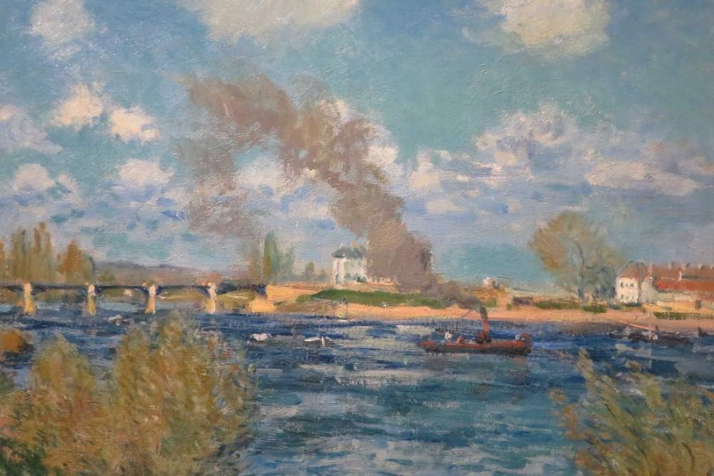 Alfred Sisley Bougival Tekne, Kanvas Tablo, Alfred Sisley