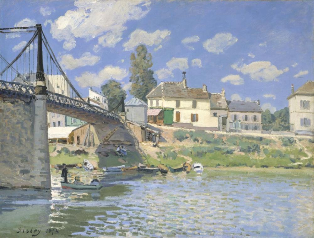 Alfred Sisley Bridge At Villeneuve La Garenne, Canvas, Alfred Sisley, kanvas tablo, canvas print sales