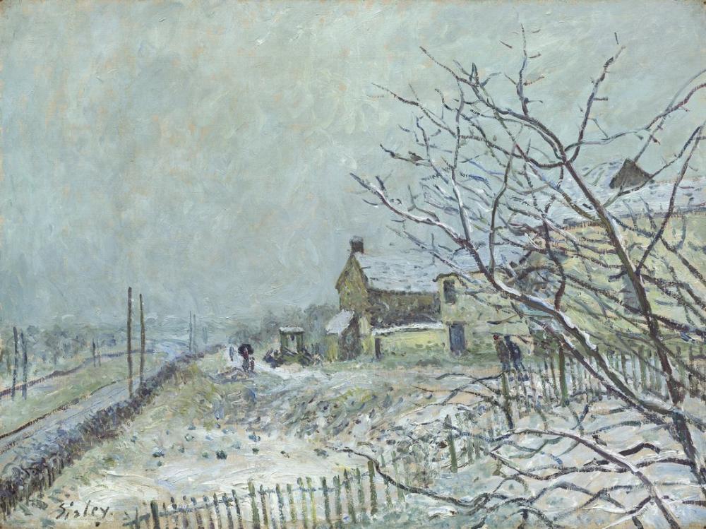 Alfred Sisley First Snow At Veneux Nadon Painting, Canvas, Alfred Sisley, kanvas tablo, canvas print sales
