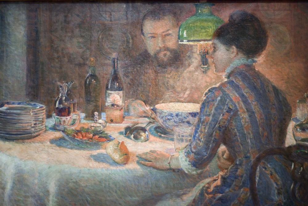 Alfred Sisley Marie Bracquemond Lambanın Altında, Kanvas Tablo, Alfred Sisley