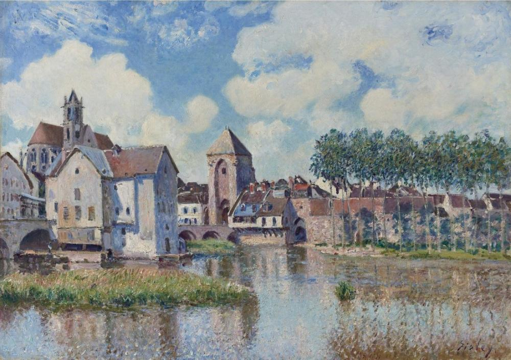 Alfred Sisley Moret On Loing, Canvas, Alfred Sisley, kanvas tablo, canvas print sales