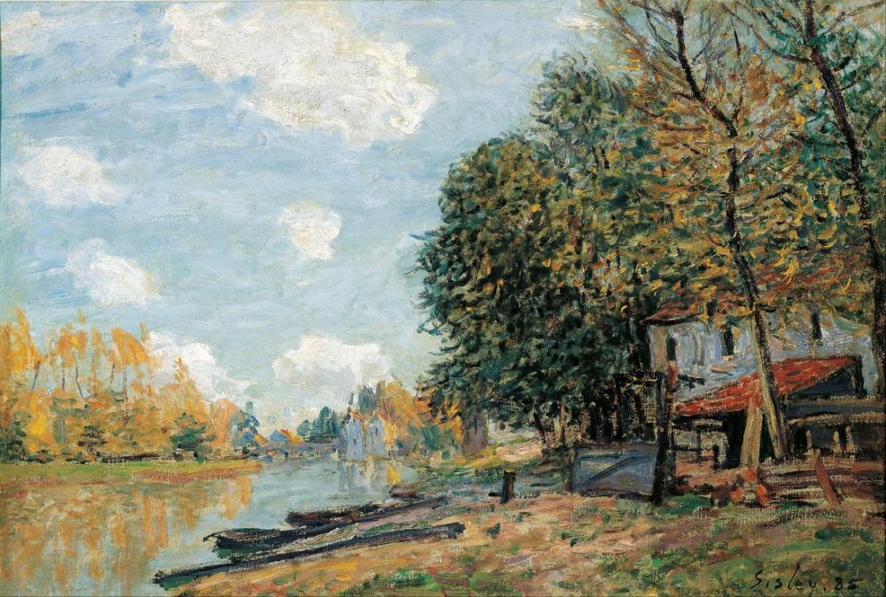 Alfred Sisley Moret Loing Nehir Bankları, Kanvas Tablo, Alfred Sisley