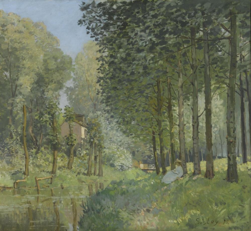 Alfred Sisley Akarsu Kenarında Dinlenmek Odunluk, Kanvas Tablo, Alfred Sisley