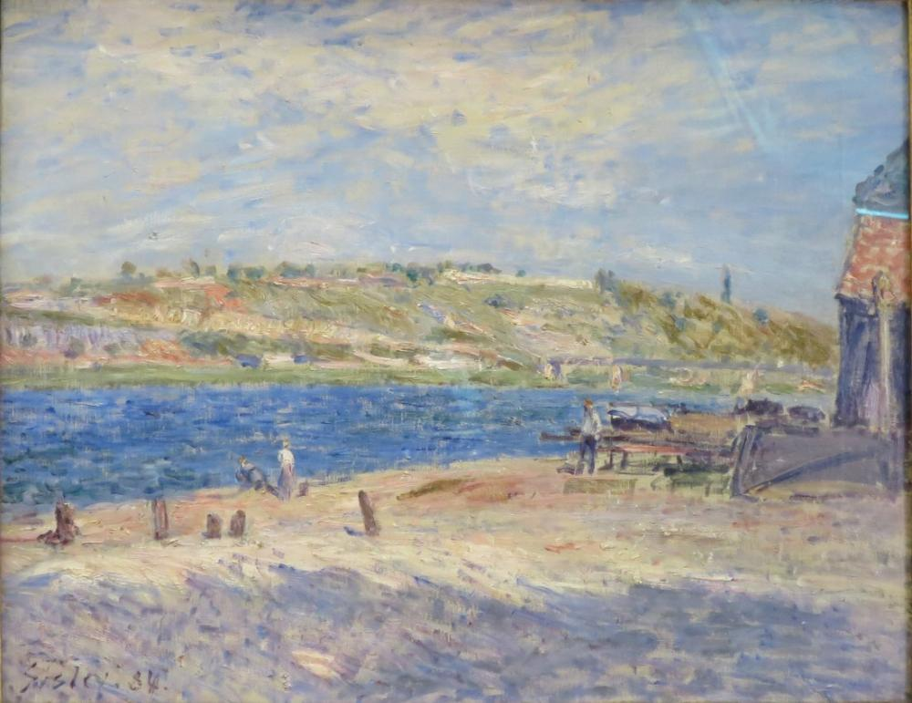 Alfred Sisley Riverbank at Saint Mammes By The Hermitage, Canvas, Alfred Sisley, kanvas tablo, canvas print sales