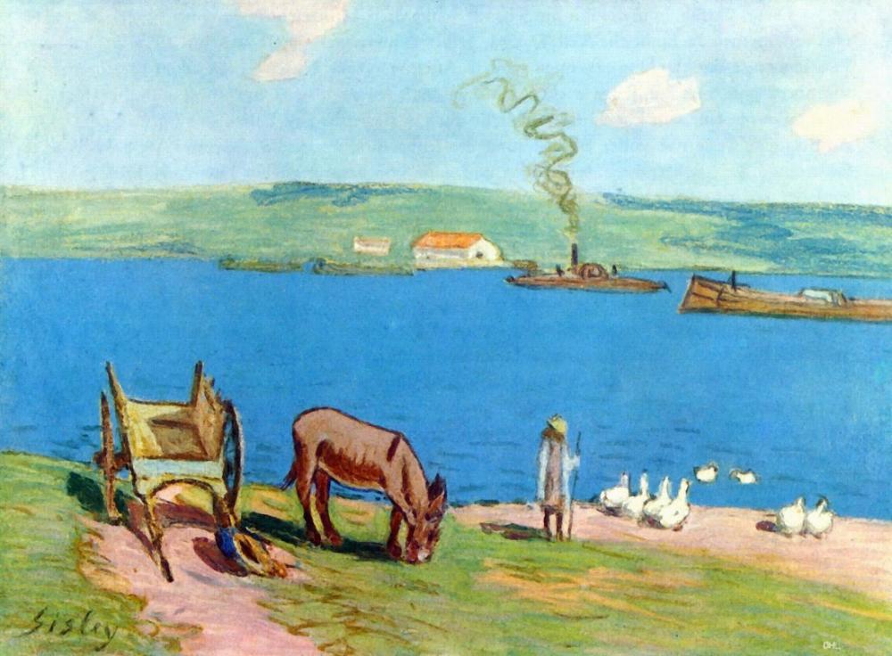 Alfred Sisley Nehir Kenarı, Kanvas Tablo, Alfred Sisley