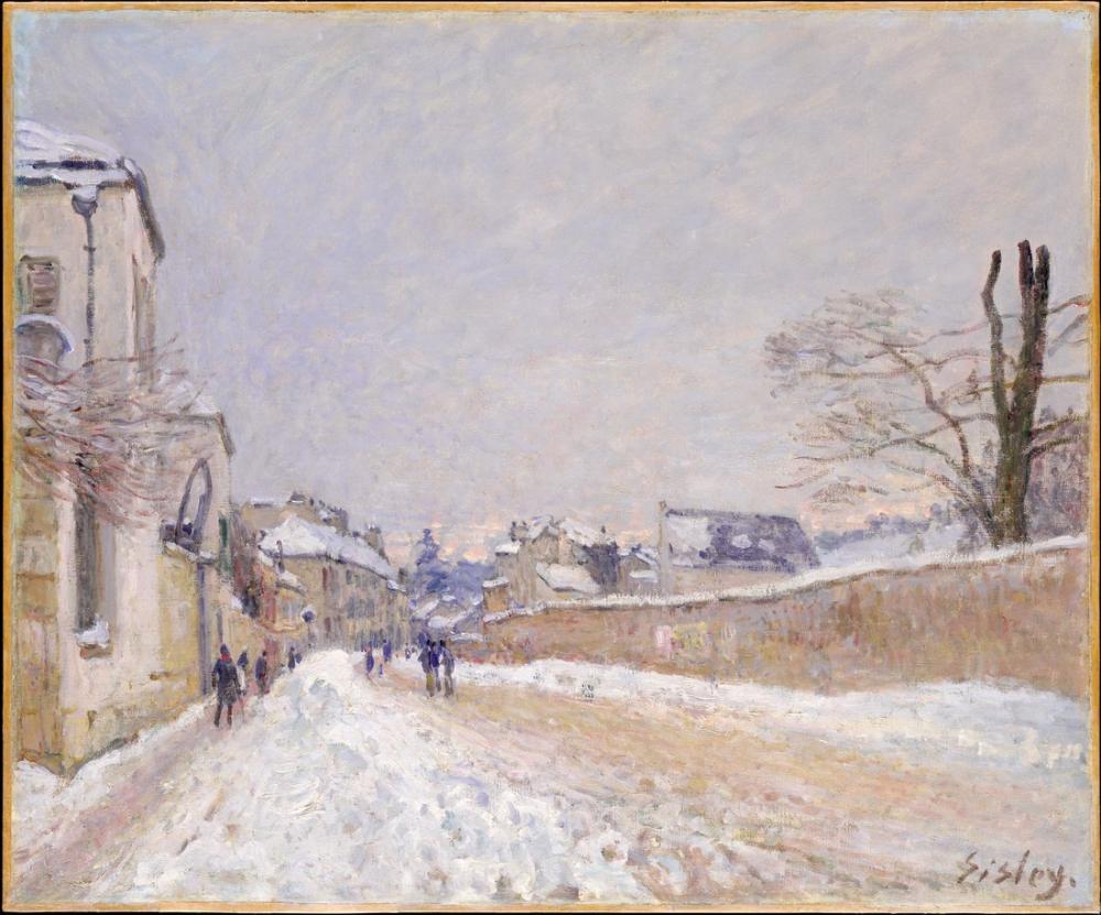 Alfred Sisley Rue Eugene Moussoir Moret Kışı, Kanvas Tablo, Alfred Sisley