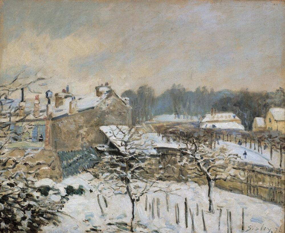 Alfred Sisley Kar Etkisi Louveciennes, Kanvas Tablo, Alfred Sisley