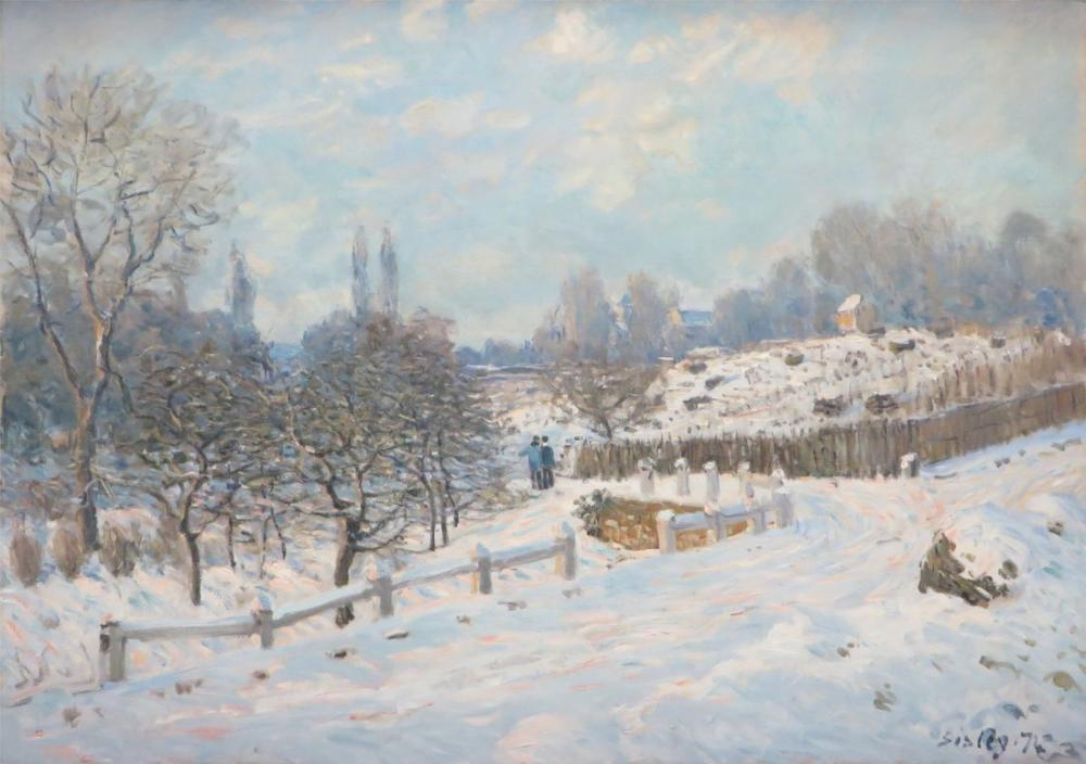Alfred Sisley Street In Louveciennes Snow, Canvas, Alfred Sisley, kanvas tablo, canvas print sales