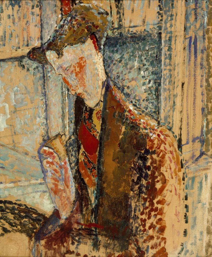 Amedeo Modigliani, Frank Burty Haviland Portresi İçin Reverie Çalışması, Kanvas Tablo, Amedeo Modigliani