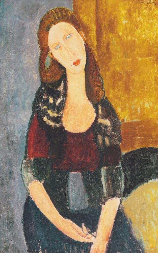 Amedeo Modigliani, Jeanne Hebuterne Oturuyor, Kanvas Tablo, Amedeo Modigliani