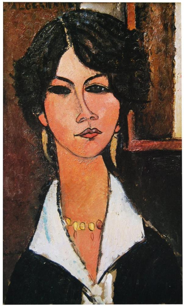 Amedeo Modigliani, Şapka ve Kolye ile Jeanne Hebuterne, Kanvas Tablo, Amedeo Modigliani