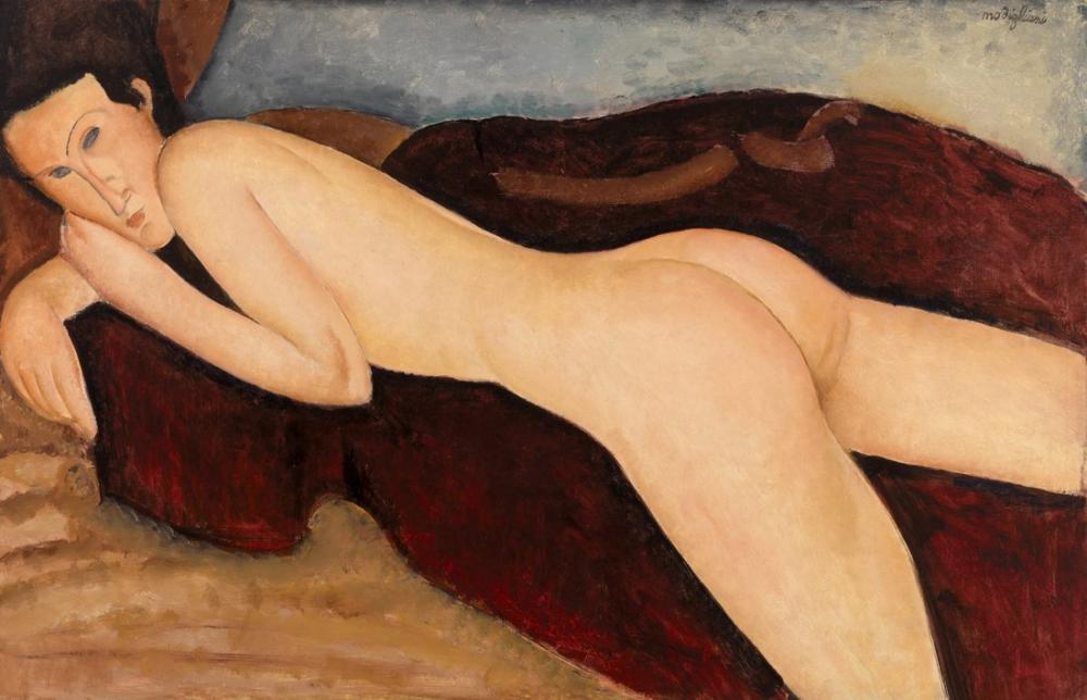 Amedeo Modigliani, Arkadan Uzanmış Çıplak, Kanvas Tablo, Amedeo Modigliani