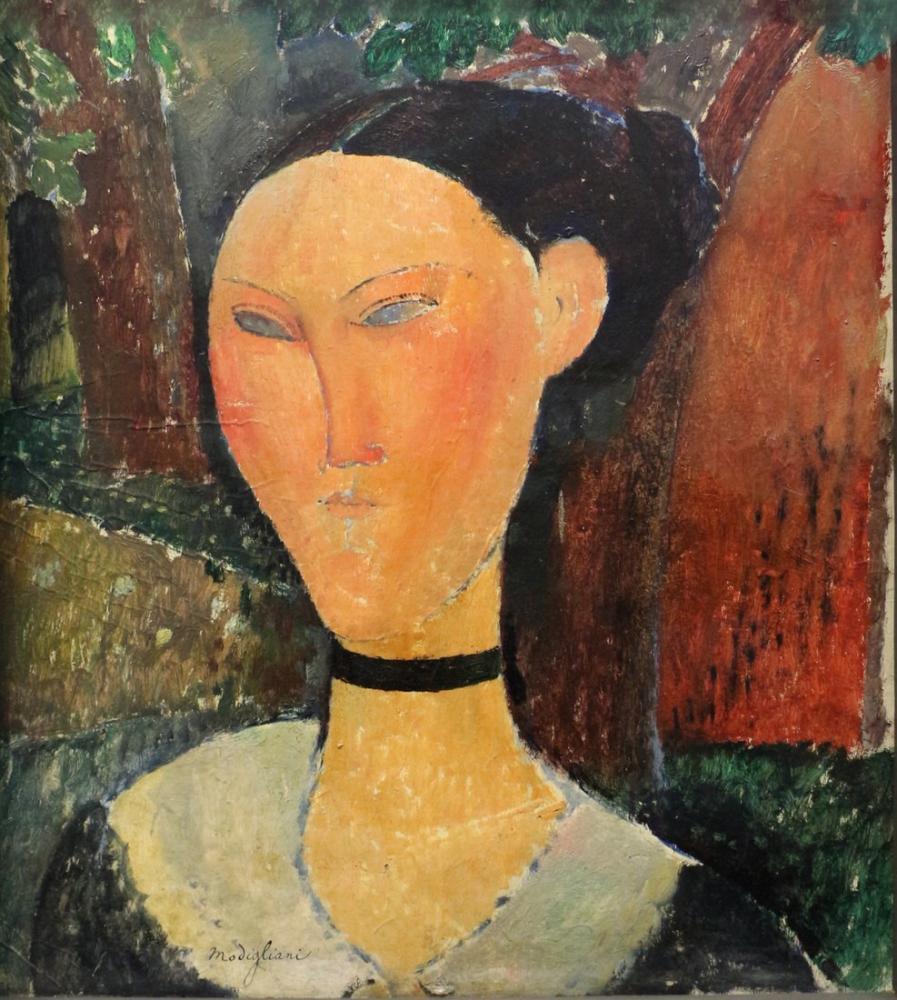 Amedeo Modigliani, Kadife Kurdele ile Kadın, Kanvas Tablo, Amedeo Modigliani