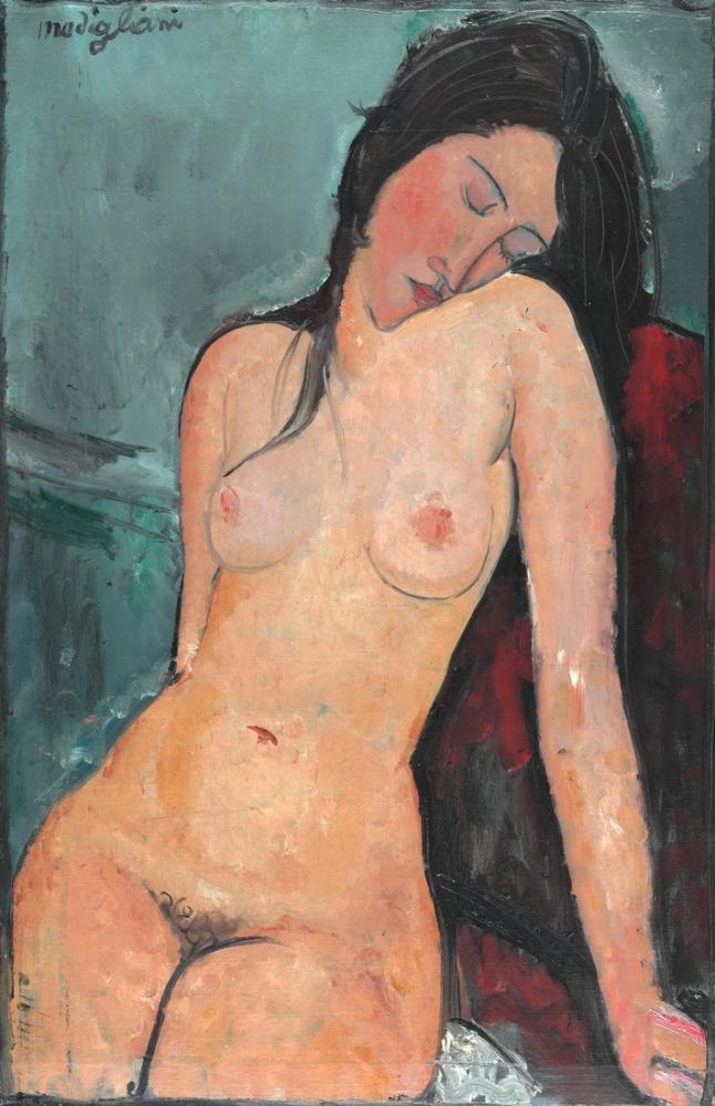 Amedeo Modigliani, Çıplak Kadın Vuitton Vakfı Paris, Kanvas Tablo, Amedeo Modigliani, kanvas tablo, canvas print sales
