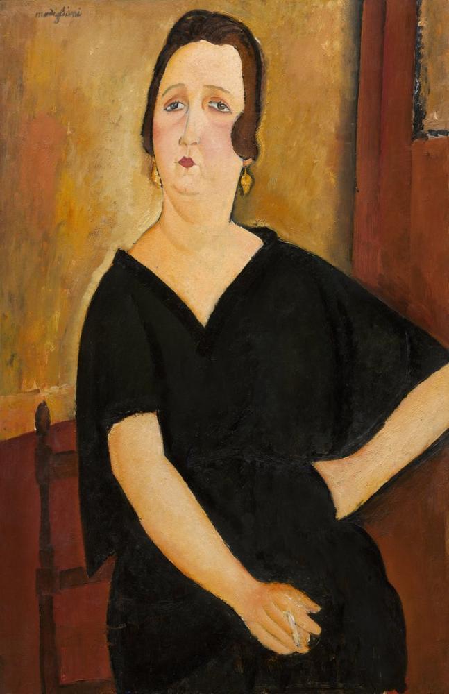 Amedeo Modigliani, Madame Amédée Sigara ile Kadın, Kanvas Tablo, Amedeo Modigliani