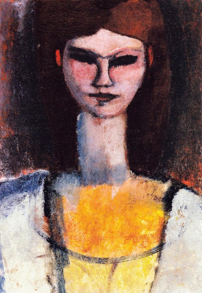 Amedeo Modigliani, Genç Bir Kadının Büstü, Kanvas Tablo, Amedeo Modigliani