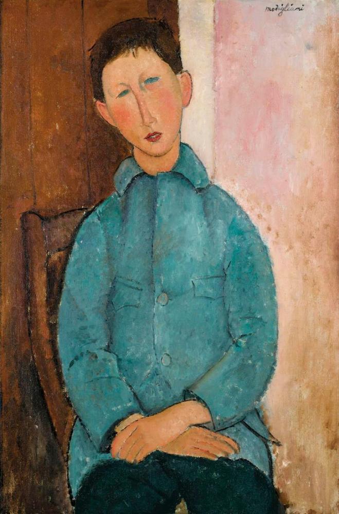 Amedeo Modigliani, Mavi Ceketli Çocuk, Kanvas Tablo, Amedeo Modigliani