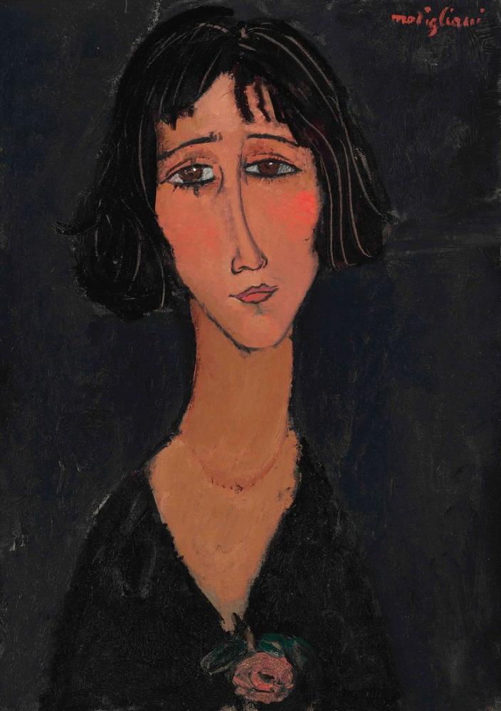 Amedeo Modigliani, Gül ile Genç Kadın, Kanvas Tablo, Amedeo Modigliani