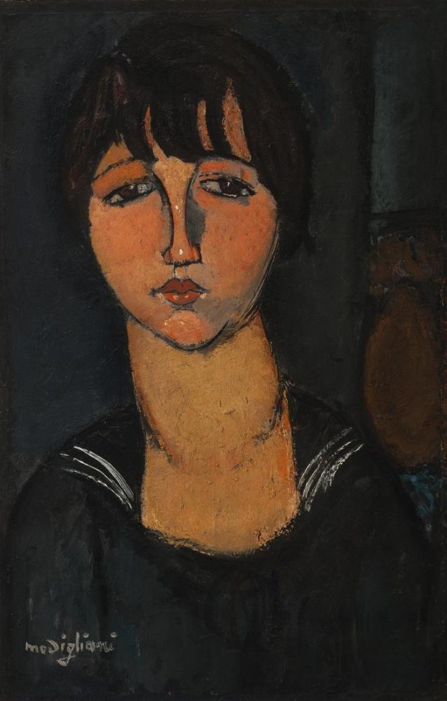 Amedeo Modigliani, Denizci Gömlekli Kadın, Kanvas Tablo, Amedeo Modigliani