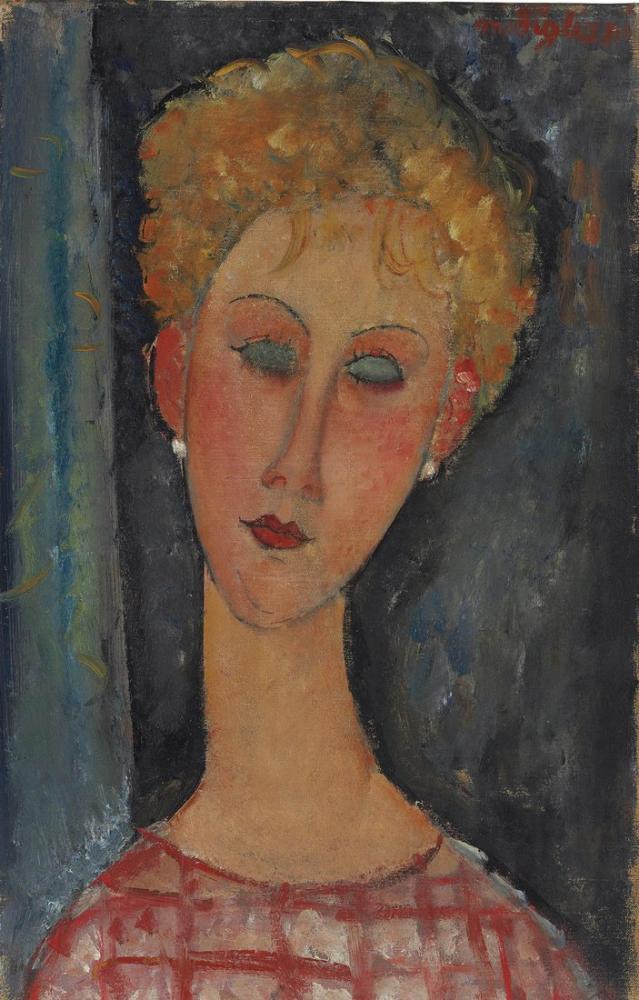 Amedeo Modigliani, Küpeli Kıvırcık Sarışın, Kanvas Tablo, Amedeo Modigliani
