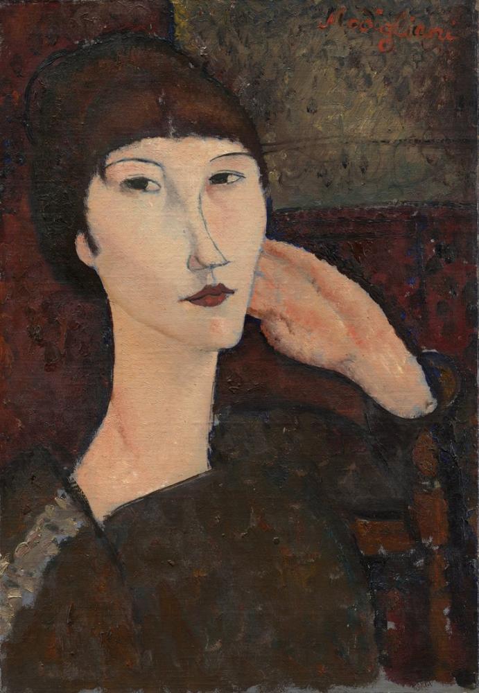 Amedeo Modigliani, Adrienne Kadın ile Kâkül, Kanvas Tablo, Amedeo Modigliani