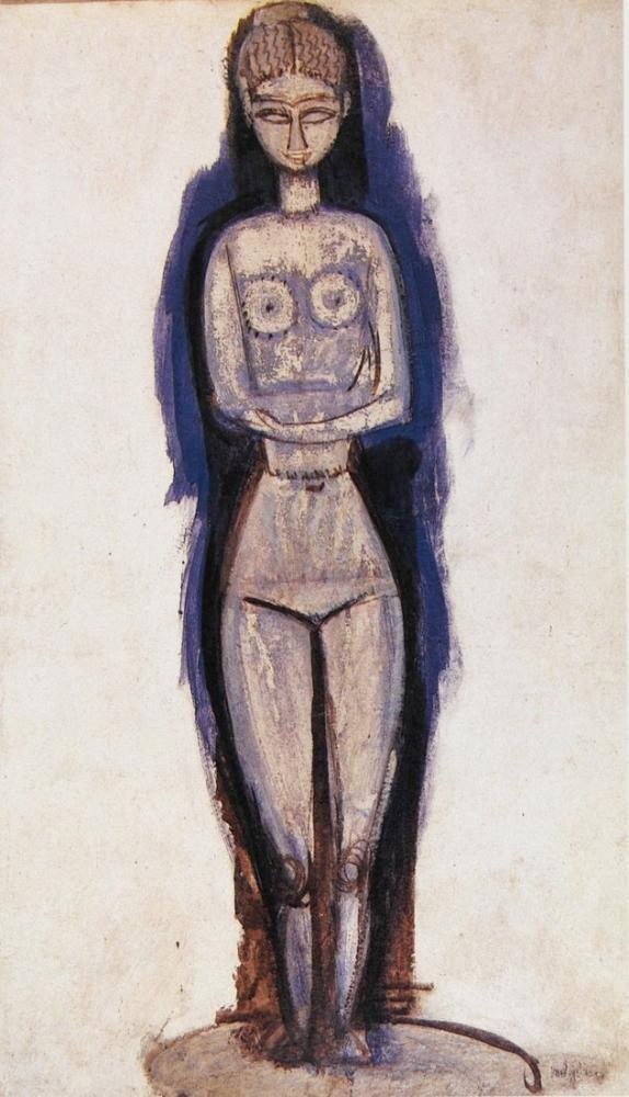Amedeo Modigliani Ayakta Çıplak; Caryatid Çalışması, Kanvas Tablo, Amedeo Modigliani