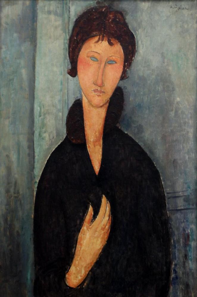 Amedeo Modigliani, Mavi Gözlü Kadın, Kanvas Tablo, Amedeo Modigliani
