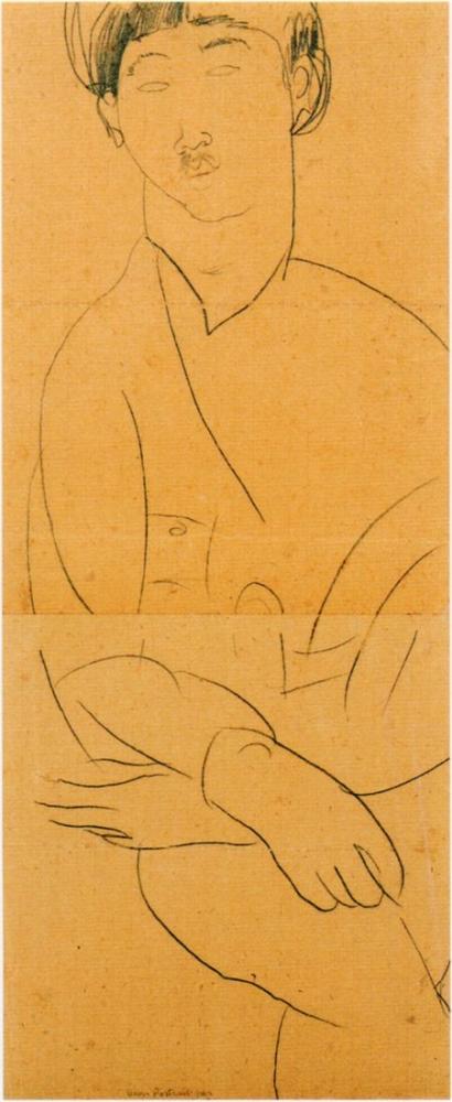 Amedeo Modigliani, Foujita Portresi, Kanvas Tablo, Amedeo Modigliani, kanvas tablo, canvas print sales