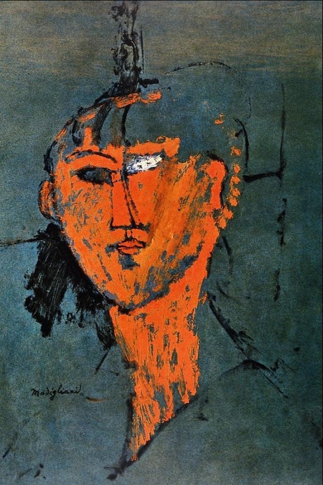 Amedeo Modigliani, Kızıl Kafa, Kanvas Tablo, Amedeo Modigliani