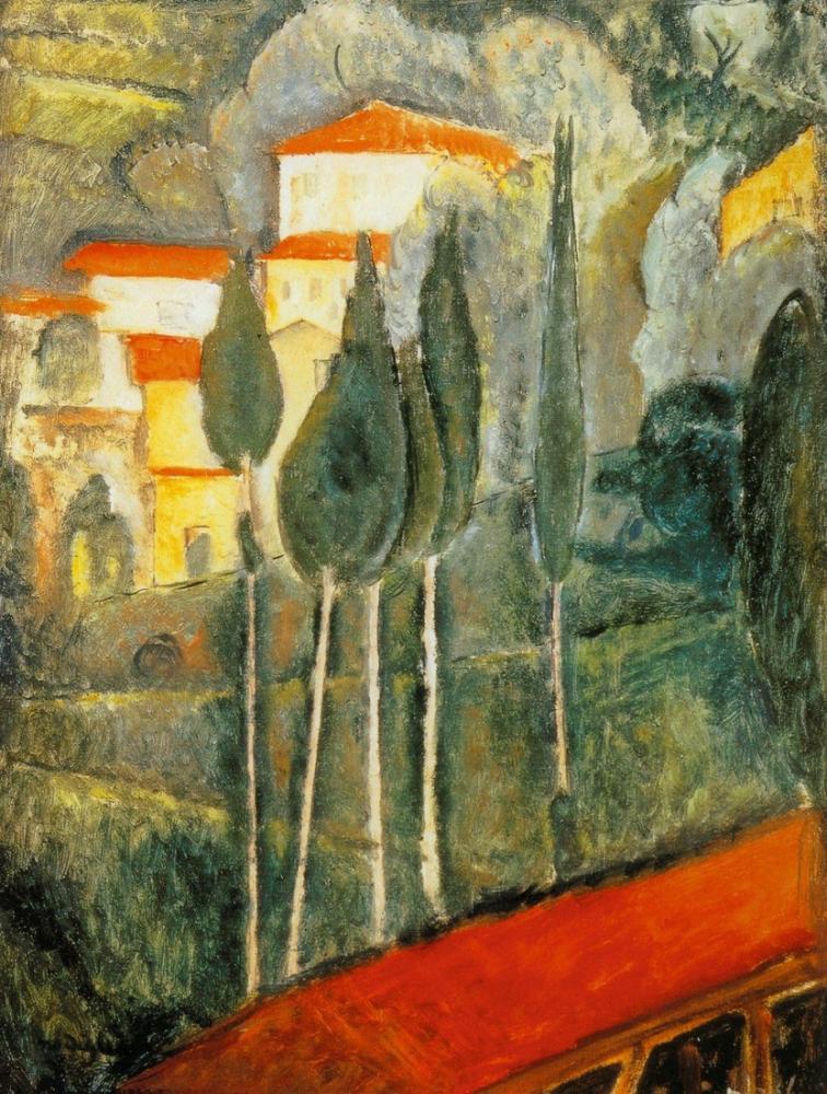 Amedeo Modigliani, Midi'de Manzara, Kanvas Tablo, Amedeo Modigliani